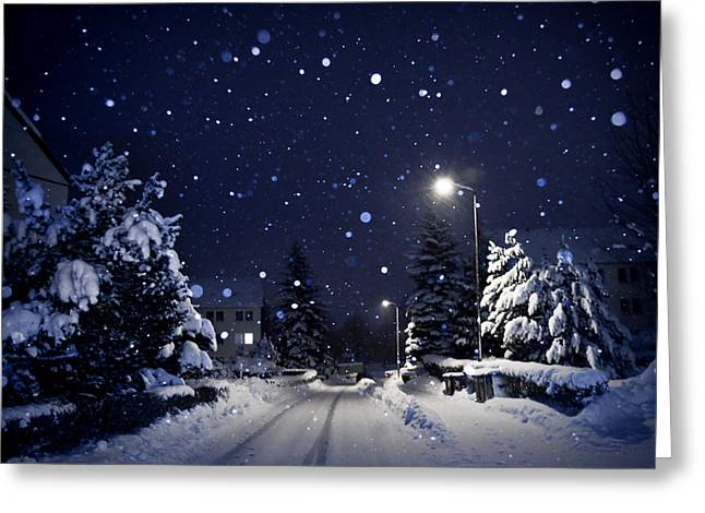 Silent Night Greeting Cards - Blue Silent Night Greeting Card by Dorit Fuhg