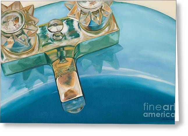 Faucet Paintings Greeting Cards - Blue Sink Greeting Card by Aaron Wilbers