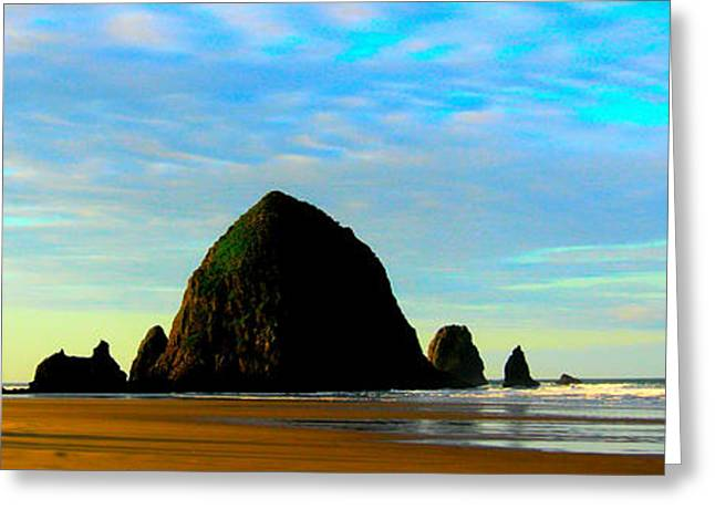 Beach At Night Greeting Cards - Blue Skies-H Greeting Card by Steve Alcombrack