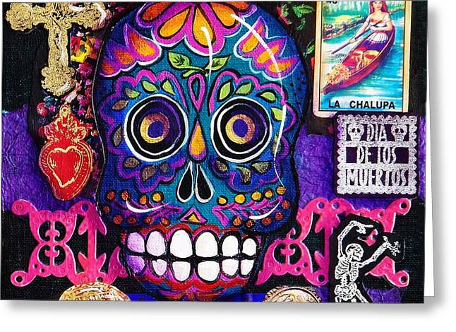 Mexican Dancing Greeting Cards - Blue Skull Greeting Card by Candy Mayer