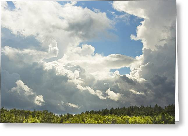 Skylights Greeting Cards - Blue Sky And Building Storm Clouds Fiane Art Print Greeting Card by Keith Webber Jr