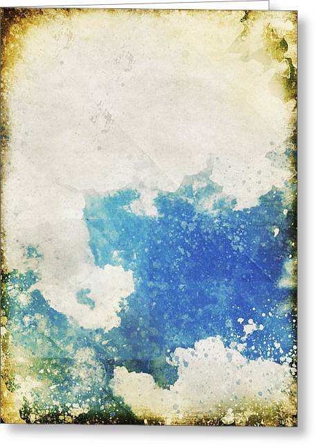 Blue Sky And Cloud On Old Grunge Paper Greeting Card by Setsiri Silapasuwanchai