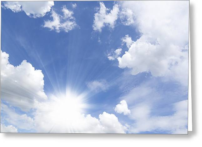 Clear Fall Day Greeting Cards - Blue Sky And Sun Ray Greeting Card by Setsiri Silapasuwanchai