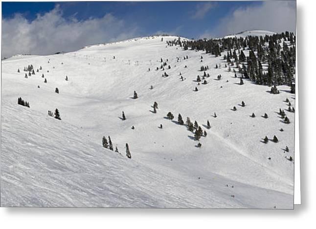 Blue Sky Basin Panorama - Vail Colorado Greeting Card by Brendan Reals