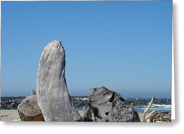 Beach Driftwood Greeting Cards - Blue Sky Coastal Landscape Driftwood Rock Pier Greeting Card by Baslee Troutman