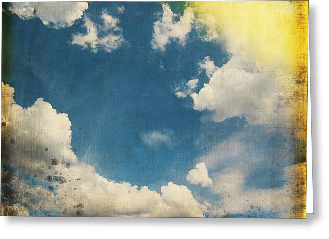 Border Photographs Greeting Cards - Blue Sky On Old Grunge Paper Greeting Card by Setsiri Silapasuwanchai