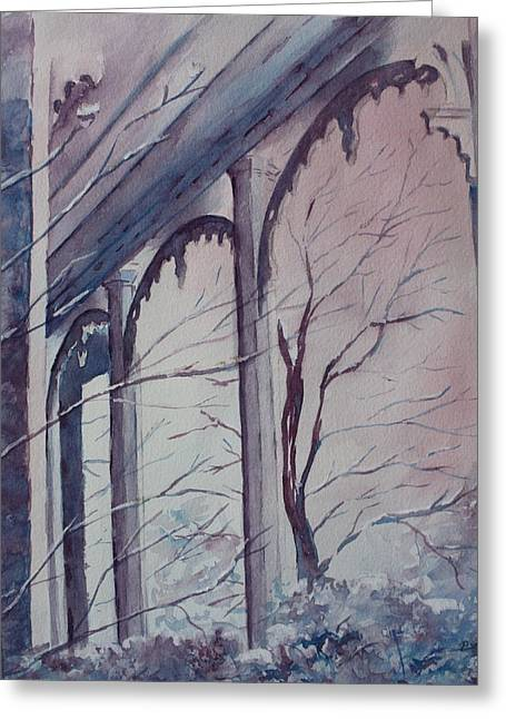 Patsy Sharpe Greeting Cards - Blue Snow Greeting Card by Patsy Sharpe