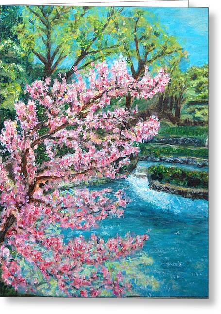 Eureka Springs Paintings Greeting Cards - Blue Spring Greeting Card by Carolyn Donnell
