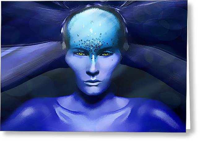 Human Being Greeting Cards - Blue Star Greeting Card by Yosi Cupano