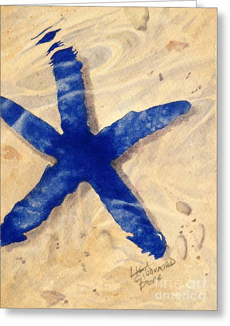 Seastar Paintings Greeting Cards - Blue Starfish -SOLD Greeting Card by Lisa Pope