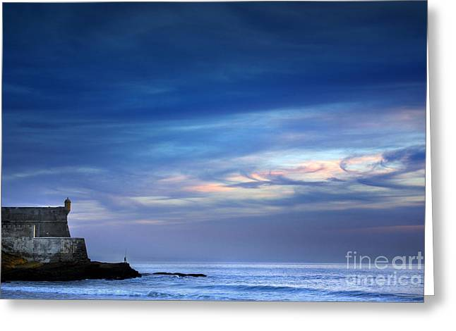 Sea Shore Greeting Cards - Blue Storm Greeting Card by Carlos Caetano