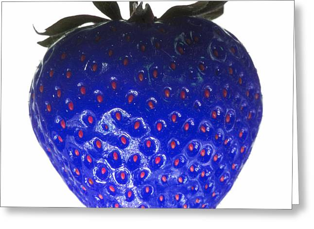 Blue Strawberry Greeting Card by Tim Booth
