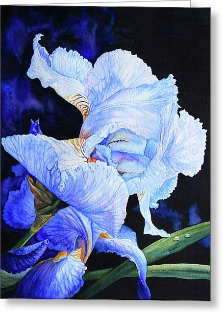 Floral Artist Greeting Cards - Blue Summer Iris Greeting Card by Hanne Lore Koehler