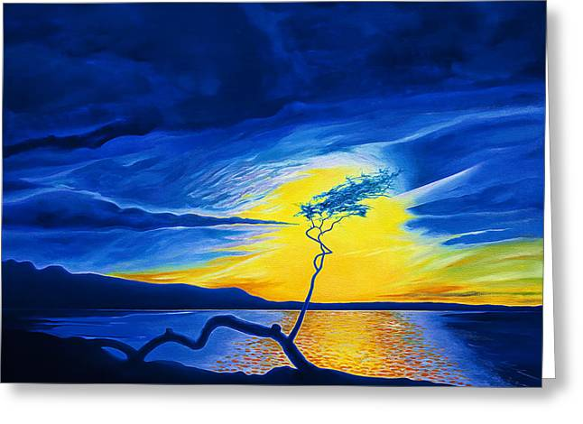 Amazing Sunset Paintings Greeting Cards - Blue Sunset at Anaehoomalu Greeting Card by Fay Biegun - Printscapes
