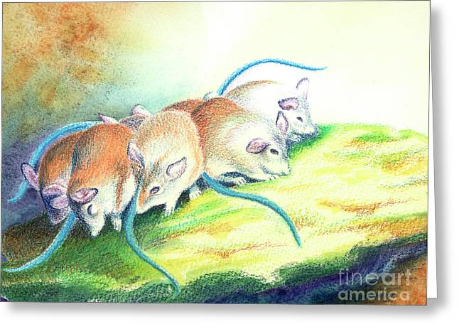 Mouse Greeting Cards - Blue Tailed Society Greeting Card by Tracy L Teeter