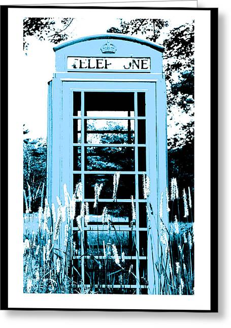 Blue Telephone Booth In A Field In Maine Greeting Card by Kara Ray