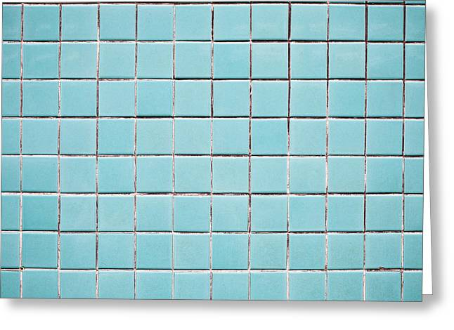 Backdrop Greeting Cards - Blue tiles Greeting Card by Tom Gowanlock