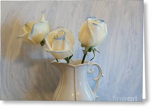 White Decor Posters Greeting Cards - Blue Tipped Roses ll Greeting Card by Marsha Heiken