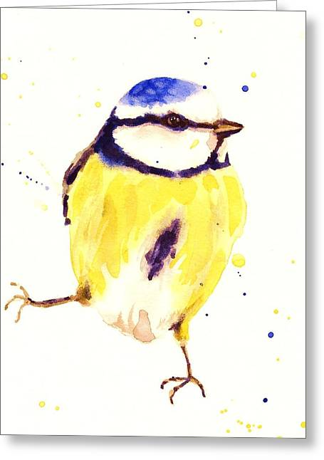Tits Greeting Cards - Blue Tit Painting Greeting Card by Alison Fennell