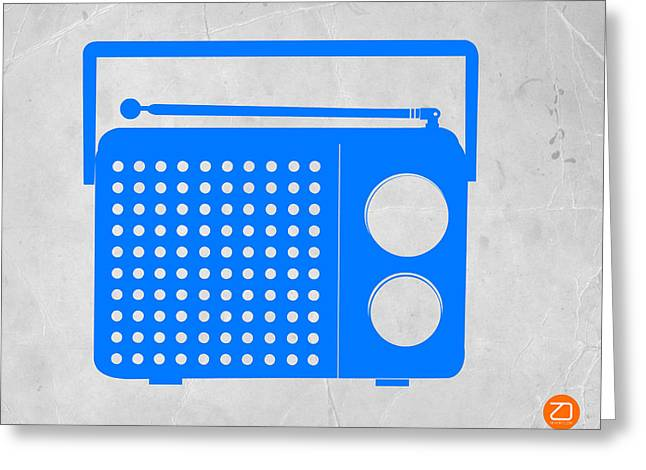 Radio Print Greeting Cards - Blue transistor radio Greeting Card by Naxart Studio