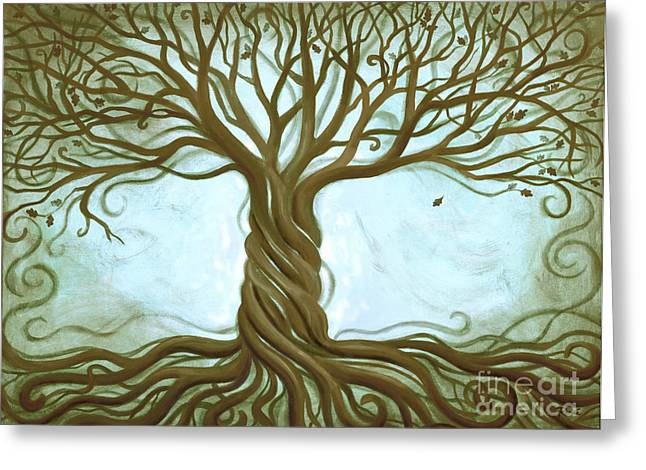 Tree Roots Greeting Cards - Blue Tree of Life Greeting Card by Renee Womack