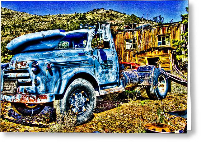 Old Relics Greeting Cards - Blue Truck Greeting Card by Jon Berghoff