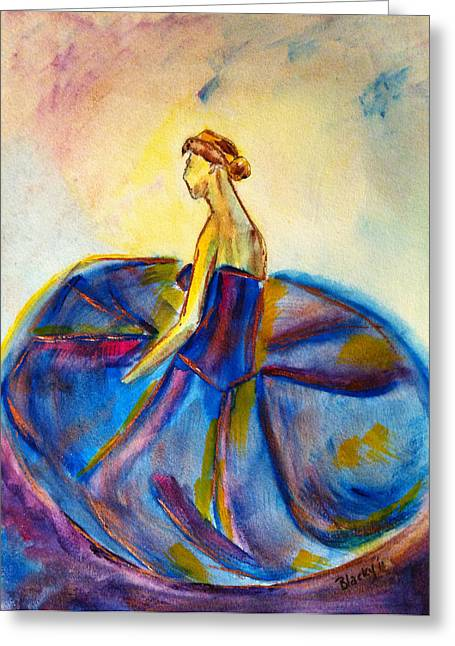 Ballet Dancers Paintings Greeting Cards - Blue Tutu Greeting Card by Donna Blackhall