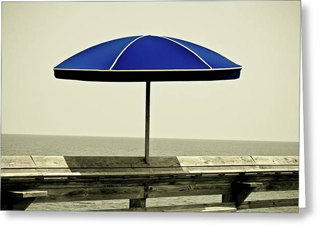 Pier Pyrography Greeting Cards - Blue Umbrella  Greeting Card by Gib LaStrapes