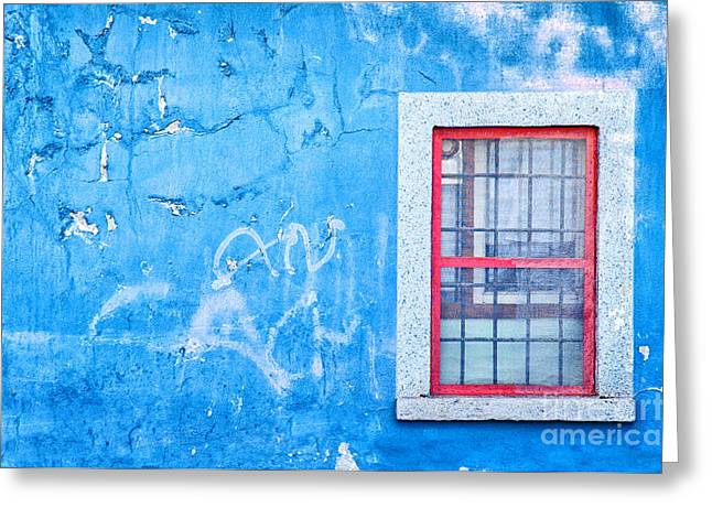 Blue Wall And Window With Red Frame Greeting Card by Silvia Ganora