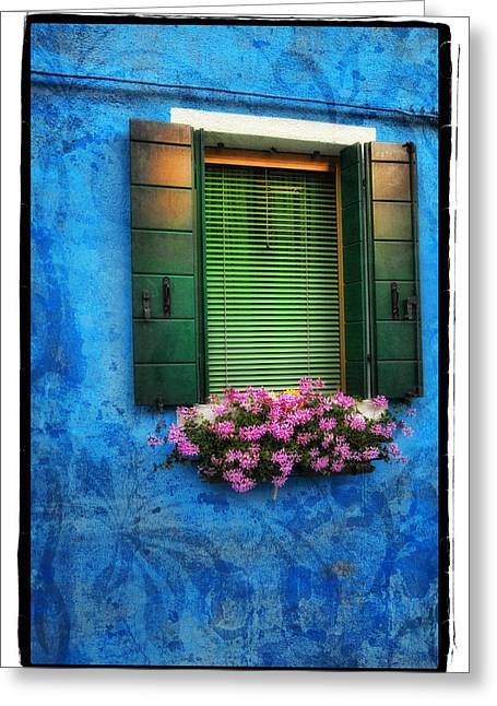 Pink Flower Prints Pyrography Greeting Cards - Blue Wall Greeting Card by Mauro Celotti
