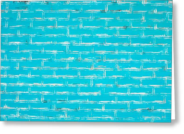Domestic Bathroom Greeting Cards - Blue wall Greeting Card by Tom Gowanlock