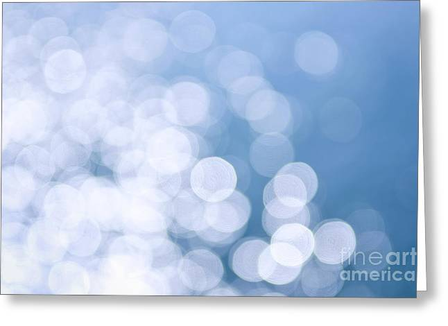 Blue Background Greeting Cards - Blue water and sunshine abstract Greeting Card by Elena Elisseeva