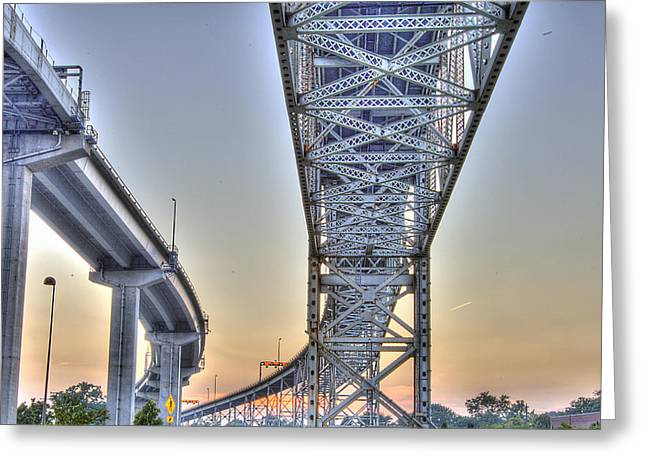 Renaissance Center Greeting Cards - Blue Water Bridge Port Huron MI Greeting Card by Nicholas  Grunas