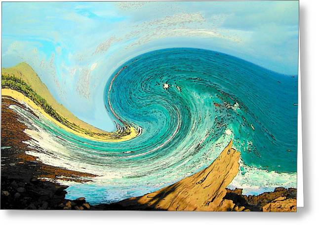 Wave Greeting Cards - Blue Wave Greeting Card by Vijay Sharon Govender