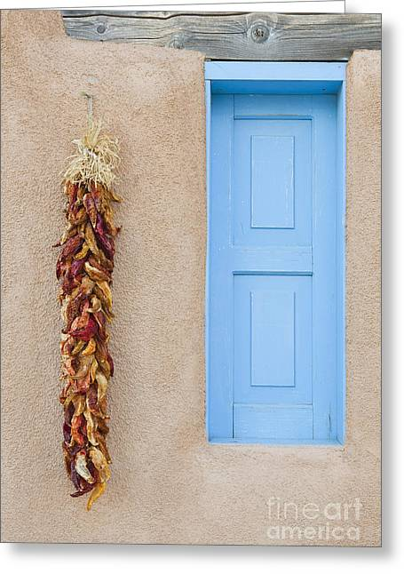 Taos Greeting Cards - Blue Window with Chili Peppers Greeting Card by Bryan Mullennix