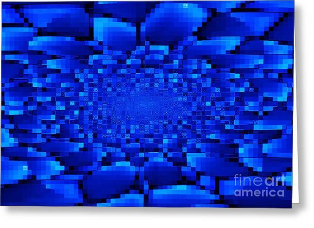 Carol Groenen Digital Art Greeting Cards - Blue Windows Abstract Greeting Card by Carol Groenen