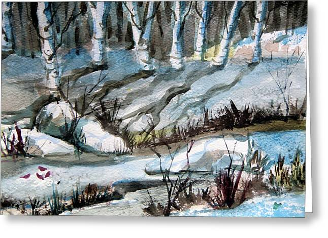 Brook Drawings Greeting Cards - Blue Winter Greeting Card by Mindy Newman