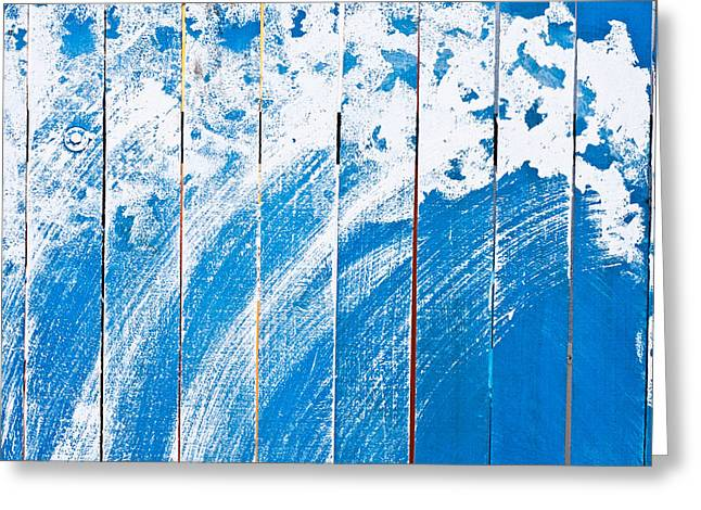 Carpentry Greeting Cards - Blue wooden panels Greeting Card by Tom Gowanlock