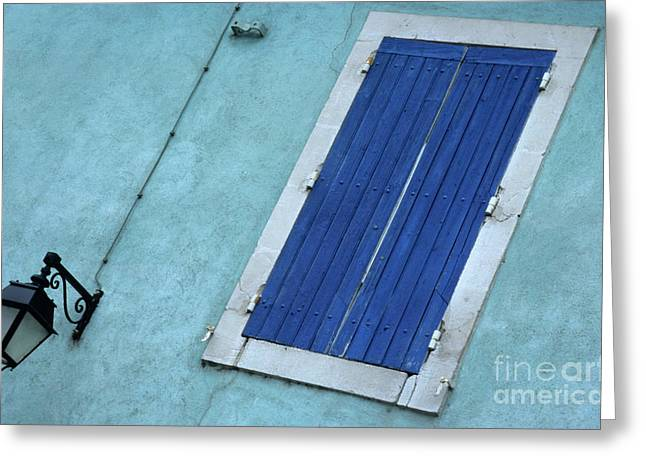 Sami Sarkis Greeting Cards - Blue wooden shutters on the facade of a house in Gard Greeting Card by Sami Sarkis