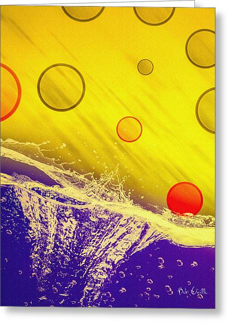 Bubbly Digital Greeting Cards - Blue Yellow Red Greeting Card by Bob Orsillo