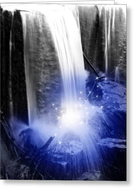 Forever Young Greeting Cards - Blue Youth Fountain  Greeting Card by Cathy  Beharriell
