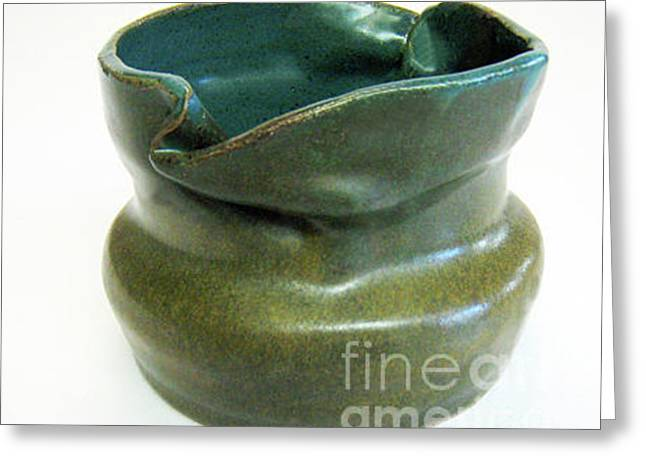 Best Sellers -  - Hand Thrown Pottery Greeting Cards - Blue Ziggle Pot Greeting Card by Vernon Nix
