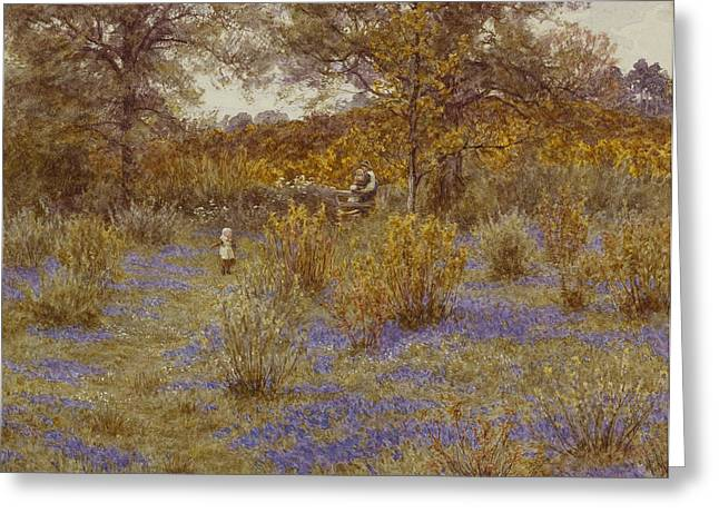 Helen Allingham Greeting Cards - Bluebell Copse Greeting Card by Helen Allingham