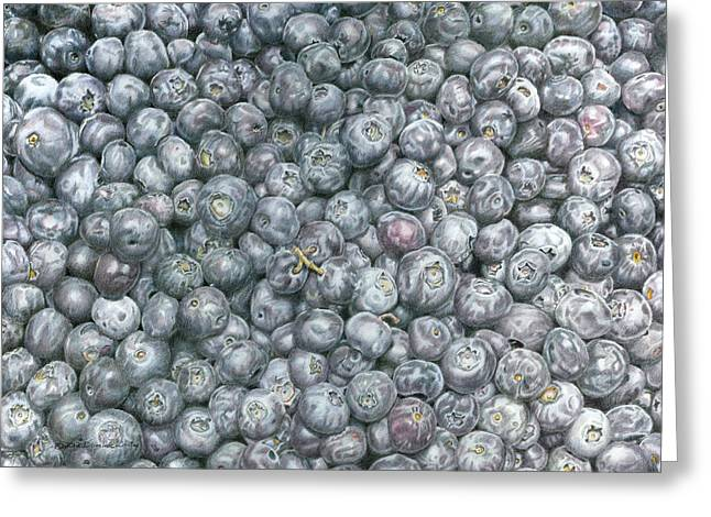 Blueberry Drawings Greeting Cards - Blueberries Greeting Card by Dominic White