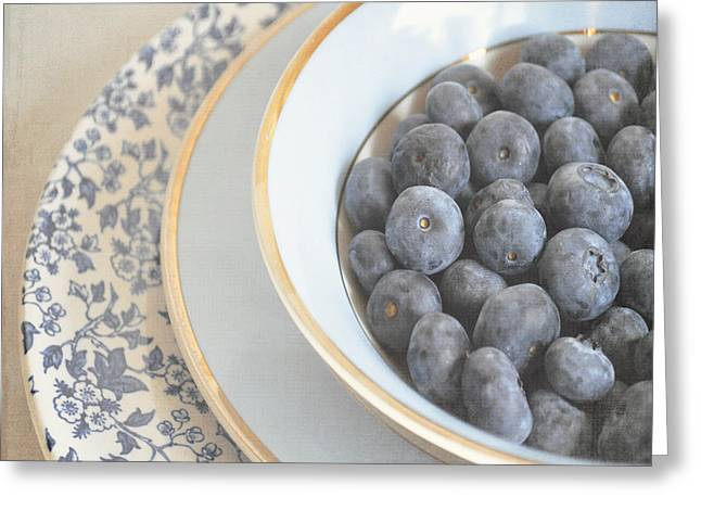 Interior Still Life Digital Greeting Cards - Blueberries in blue and white china bowl Greeting Card by Lyn Randle