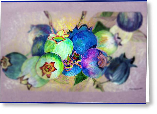 Blueberries Drawing Greeting Cards - Blueberries Prime Time Greeting Card by Mindy Newman