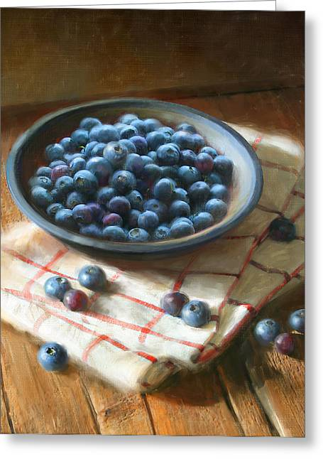 Cooks Illustrated Paintings Greeting Cards - Blueberries Greeting Card by Robert Papp