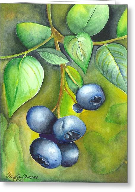 Blueberry Paintings Greeting Cards - Blueberrries Greeting Card by Angela Armano