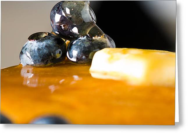 Blueberry butter pancake with honey maple sirup flowing down Greeting Card by Ulrich Schade