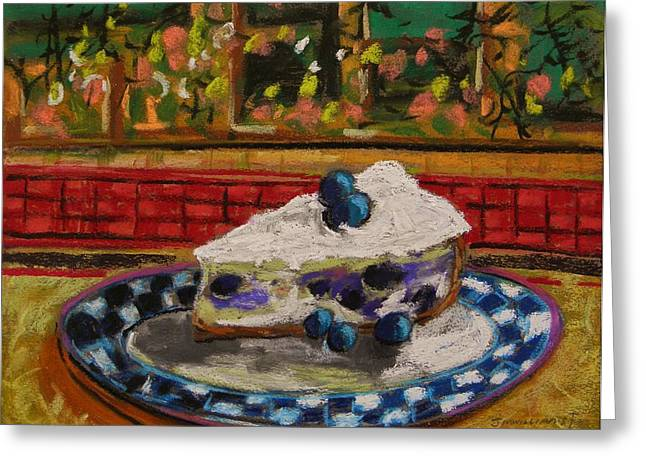 Blueberry Drawings Greeting Cards - Blueberry Cheesecake Greeting Card by John  Williams